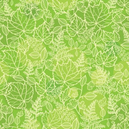 bladeren: Groene bladeren lineart textuur naadloze patroon achtergrond