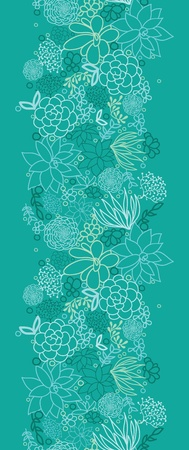 Green succulents vertical seamless pattern background photo
