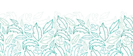Leaves lineart horizontal seamless pattern background