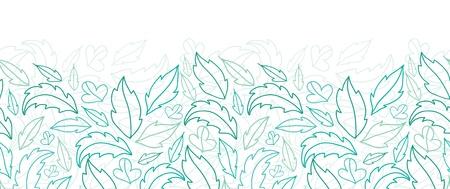 horizontal: Leaves lineart horizontal seamless pattern background