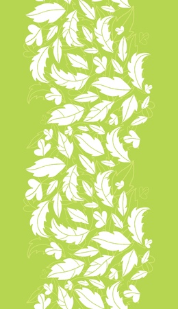 White on green leaves silhouettes vertical seamless pattern background photo