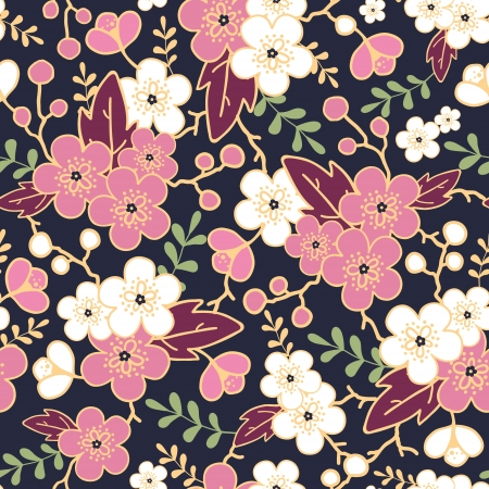 Night garden sakura blossoms seamless pattern background