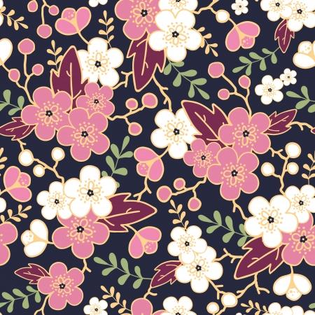 Night garden sakura blossoms seamless pattern background