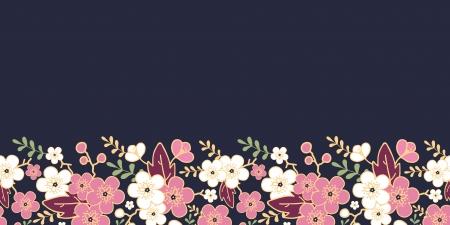 Night garden sakura blossoms horizontal seamless pattern background photo