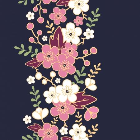 Night garden sakura blossoms vertical seamless pattern background