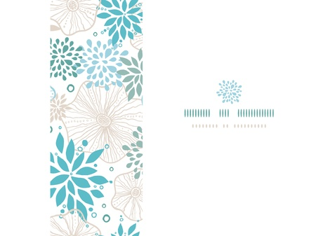 Blue and gray plants frame horizontal seamless pattern background photo