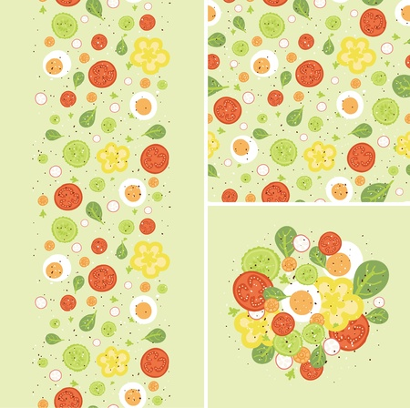 Eggs and salad set of seamless pattern and borders  photo