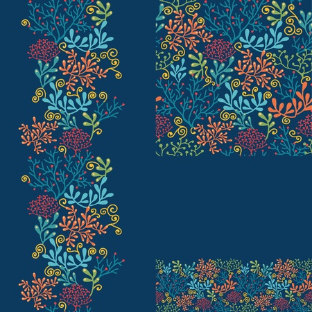 Set of dark plants seamless pattern and borders backgrounds photo