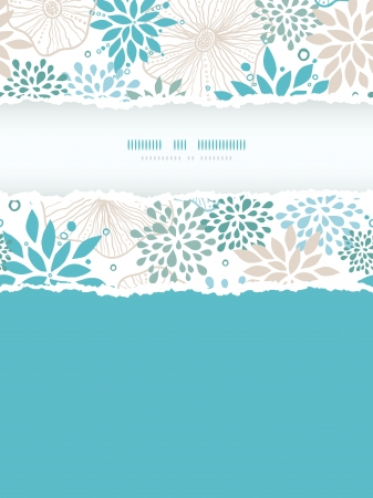 Blue and gray plants vertical torn frame seamless pattern background
