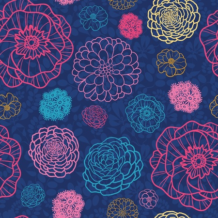 Glowing night flowers seamless pattern background