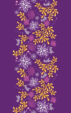 Purple and gold underwater plants vertical seamless pattern background photo