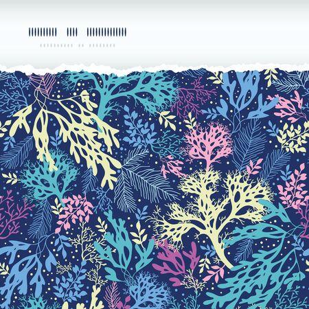 Underwater seaweed horizontal torn seamless pattern background