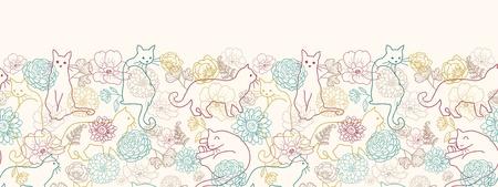 Cats among flowers horizontal seamless pattern background border photo