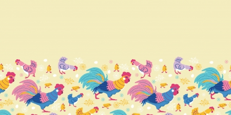 Fun chickens horizontal seamless pattern background border photo