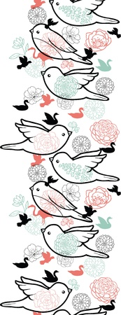 Birds silhouettes vertical seamless pattern background border photo