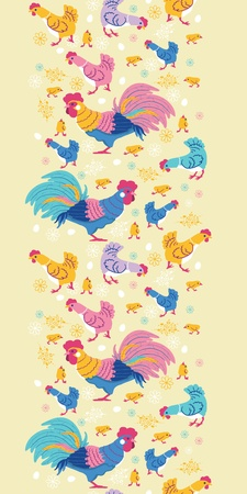 Fun chickens vertical seamless pattern background border photo