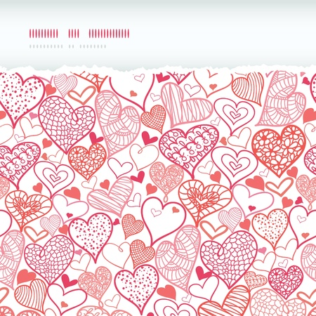 Romantic doodle hearts horizontal torn seamless pattern background photo
