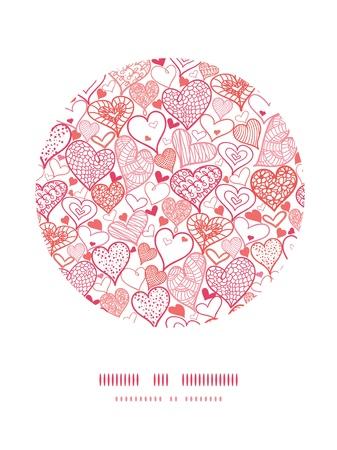 Romantic doodle hearts circle decor pattern background photo