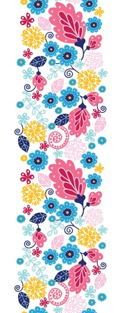 Fairytale flowers vertical seamless pattern background