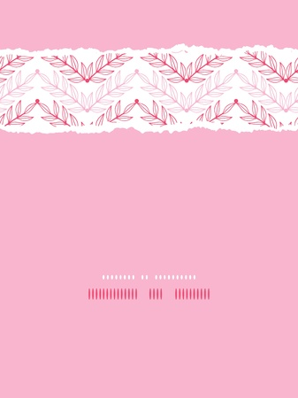Pink lineart leaves chevron vertical torn seamless pattern background photo