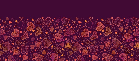 Valentine s Day Hearts Horizontal Seamless Pattern Border photo
