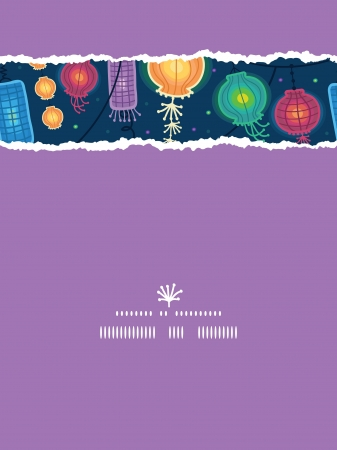 Glowing lanterns vertical torn seamless pattern background
