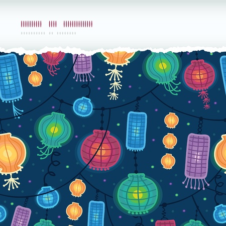 Glowing lanterns horizontal torn seamless pattern background