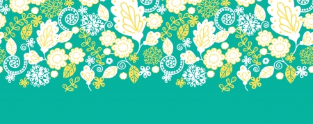 green swirl: Emerald flowerals horizontal seamless pattern background