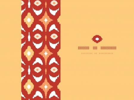 Red and gold ikat geometric frame horizontal seamless pattern background photo