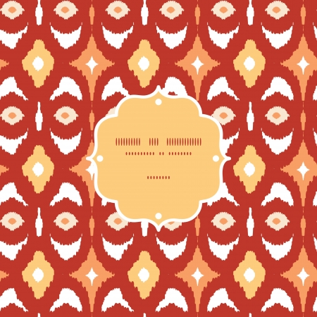 Red and gold ikat geometric frame seamless pattern background photo