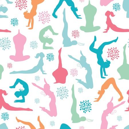 재미있는 운동 피트니스 소녀 원활한 패턴 배경 스톡 콘텐츠