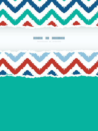 Vector colorful ikat chevron frame vertical torn seamless pattern background photo