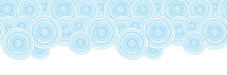 Vector doodle circle water texture horizontal border seamless pattern background with hand drawn elements photo