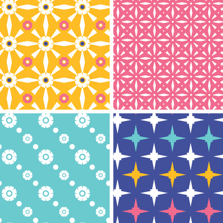 Vector set of fourblue yellow pink geometric patterns and backgrounds photo