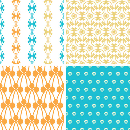 vector four abstract blue yellow berry shapes seamless patterns set in matching color scheme photo