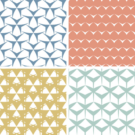 matching: vector four abstract edgy geometric pink seamless patterns set in matching color scheme Stock Photo