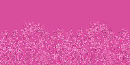 vector pink abstract flowers texture horizontal seamless pattern background photo