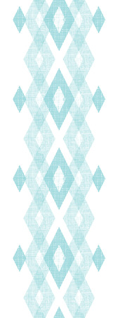 Vector pastel blue fabric ikat diamond vertical seamless pattern background with hand drawn elements photo