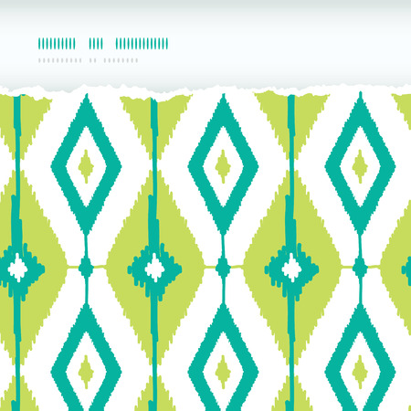 Vector emerald green ikat diamonds horizontal torn seamless patterns backgrounds with hand drawn elements photo