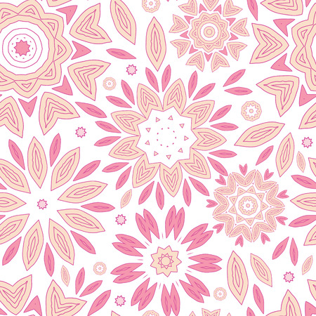 vector pink abstract flowers seamless pattern background photo