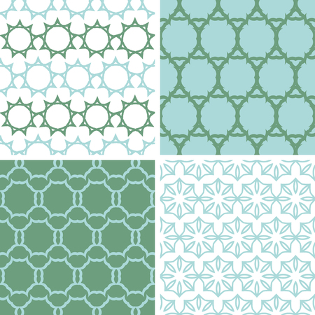 vector four abstract abstract moss green motives seamless patterns set in matching color scheme photo