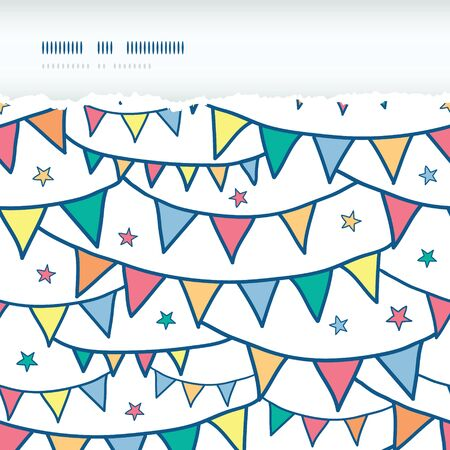 Vector colorful doodle bunting flags horizontal torn seamless pattern background with hand drawn elements photo