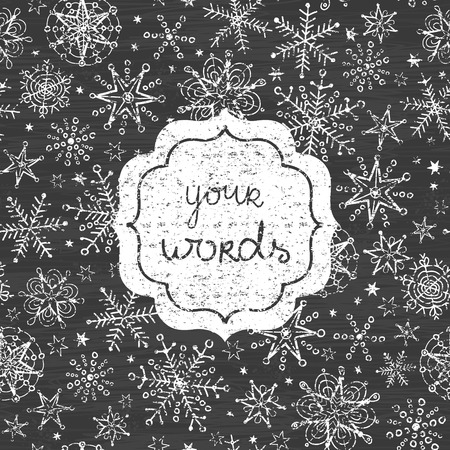 Vector Chalkboard Snowflakes Black And White Frame Seamless Pattern ...