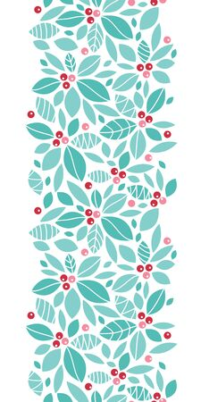 holly day: Vector Christmas holly berries vertical seamless pattern background with hand drawn elements Stock Photo