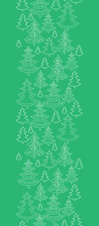 festive background: Vector doodle Christmas trees vertical seamless pattern background with hand drawn elements Stock Photo