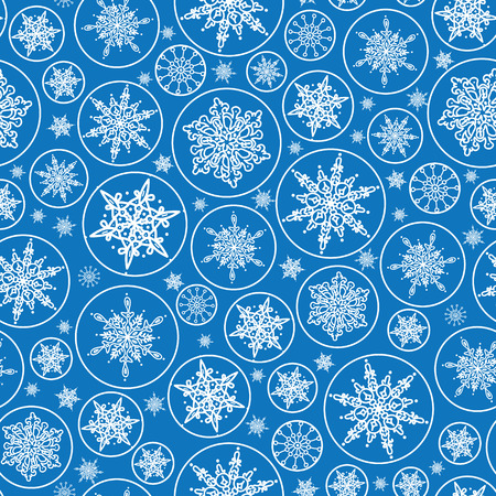 vector falling snowflakes seamless pattern background with drawn snowflakes on light blue background. photo