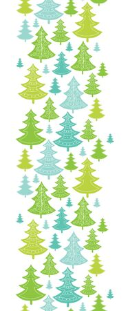 Vector holiday Christmas trees vertical seamless pattern background with hand drawn elements photo