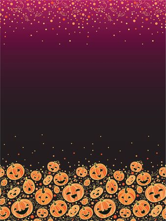vector Halloween pumpkins vertical decor background with hand drawn elements photo