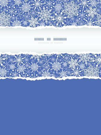vector Colorful Snowflake Texture Vertical Torn Frame Seamless Pattern Background with drawn snowflakes on light blue background. photo