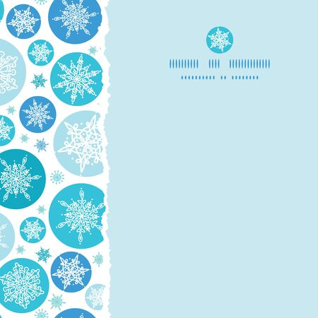 vector round snowflakes square torn seamless pattern background with drawn snowflakes on light blue background. photo